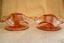 2 Vintage Fostoria Pattern 2392 Pink Candlesticks Candle Holders Swirl Twisted