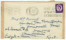 Post Early for Christmas Revenue ER 3d Margate 1958 Louth Adresse falsch (B2458