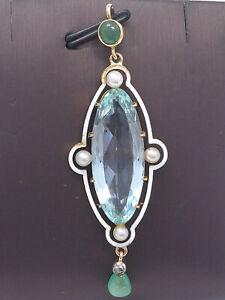 Anhänger 585 GOLD 14 Karat Perle Aquamarin Chrysopras Rosenschliff Diamant