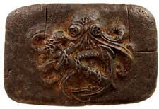 Vtg Octopus Belt Buckle Nautical Ocean Hawaii Sea Creature Cephalopod Copper