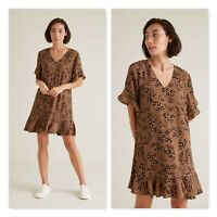 SEED HERITAGE Womens Size 10 Animal Print Flutter Dress NEW + TAGS RRP$139.95