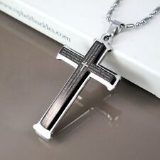"Silver Chrome Black Cross Pendant 24"" 60cm Mens Chain Necklace"