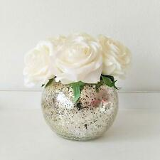 Faux White Rose Flowers with Mercury Glass Vase for Home Decor