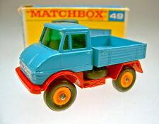 "Matchbox RW 49B Unimog blau & rot in später ""F"" Box"