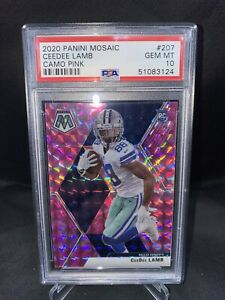 Mosaic Dallas Cowboys Ceedee Lamb Pink Camo Rookie Card *GEM MINT PSA 10*
