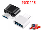 5 Pack USB-A Female To USB-C Male Adapter OTG Type C to A Compatible Converter