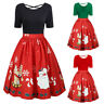 Womens Christmas Party Dress Ladies Short Sleeve Plus Size Prom Swing Dresses GE