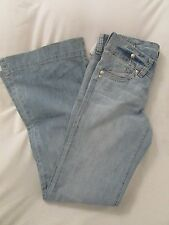 """Ladies """"BU From Malibu"""" Size 9, Md Blue, Distressed, Low Rise, Flare Leg Jeans"""