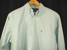 Ralph Lauren Yarmouth Shirt Green Chambray Fabric 100% Cotton Size 16 - 33