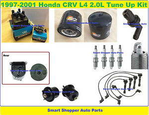 97-01 Honda CRV Tune Up Kit: Spark Plug Wire Distr. Cap Rotor Oil FueFilter PCV