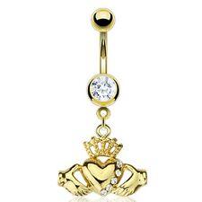 Acero Inoxidable Chapado En Oro Multi colgante de circonita Claddagh