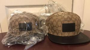 TWO Coach F68861 Signature Flat Brim Hat Cotton Blend One Size Khaki NWT Lot (2)