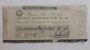 ARGENTINA script Saint Hermanos token 50pesos check WWII 1940 chocolate c° ficha