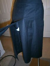 CHANEL Made in France Dark Gray Wool/Cashmere Open Panels Pleated Skirt Sz 38
