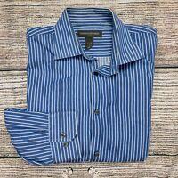 Banana Republic Men's Blue Striped Classic Fit Long Sleeve Button Shirt Size XL