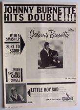 Johnny Burnette 1961 Poster Ad Liberty little boy sad You'Re Sixteen