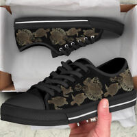 Sea Turtle Lover Women's Low Top Shoes - Custom Turtle Canvas Shoes