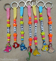 Personalised Keyring bag tag Bagtag Disney Princess Ariel Belle Cinderella Auror