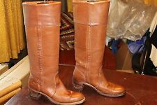 TALL VINTAGE FRYE BROWN LEATHER CUFFED RIDING BOOTS SIZE 9
