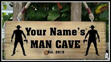 PERSONALISED NAME MAN CAVE Shed Garage Workshop Door Sign Plaque Wood Gift Fun