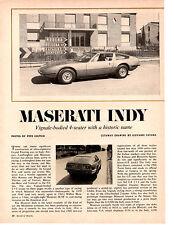 1969 MASERATI INDY 4 POSTI  ~  ORIGINAL 4-PAGE ARTICLE / AD