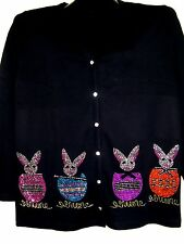 2X 22/24 EASTER BUNNY RABBIT ART DESIGN TERAZZO WOMENS COTTON CARDIGAN OPTIONS