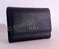 FURLA 'BABYLON' Textured SAFFIANO LEATHER Black MINI Bifold Wallet XS Purse NIB