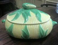 Hand Painted Ceramic Corn on the Cob Majolica Lidded Tureen Serving Dish Bowl