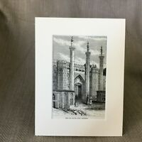 1890 Antique Print Old South Gate Tehran Persia Persian Architecture Old Art