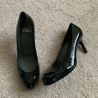 "Stuart Weitzman Black Patent 3"" High Leather  Pumps Size 6.5M Leather Sole"