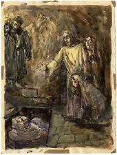RESURRECTION OF LAZARUS & ORIGINAL ANTIQUE WATERCOLOR PAINTING