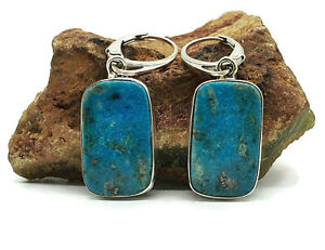 Blue Turquoise Earrings, 925 Sterling Silver, Rectangle Turquoise