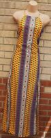 KISS THE SKY YELLOW MULTI COLOUR BAROQUE STRAPPY SPLITS FRONT MAXI DRESS 8 10 S