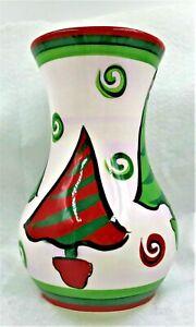 Gail Pittman Hand Painted 2006 Christmas Tree Vase Signed