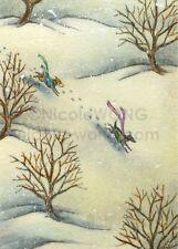 ACEO PRINT - WINTER RUN - dog, pet, landscape, nature, art, artist, winter, snow