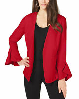 Alfani Womens Flutter-Sleeve Collarless Jacket Small Chinese Red