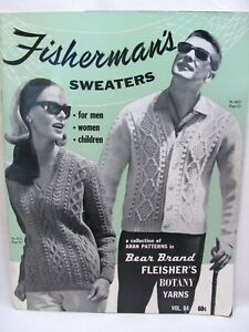 Aran Fisherman's Sweaters Vintage Knitting Patterns Bear Brand Vol 84 Men Women