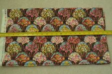"""By-the-Half-Yard, 44"""" Wide, Floral Baskets on Brown Quilter's Cotton, SSI, M6261"""