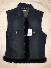 MIX IT Denim Rabbit Fur Trim Sleeveless Vest Sz Med Dark Wash New NWT $49 MSRP