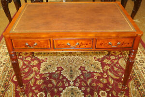 Beautiful Burled Walnut Tooled Leather Top Writing Desk