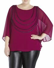 NAKED ZEBRA 3/4 SLEEVES PURPLE DRAPE BACK POLYESTER BLOUSE/TOP PLUS SIZE 1X