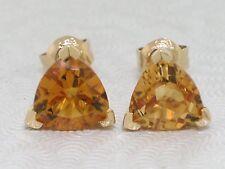 Citrin Ohrstecker 585 Gelbgold 14Kt Gold  farbintensive Citrine Trillion