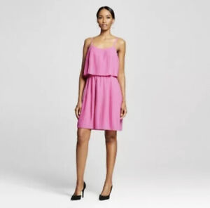 Merona Women's Pleated Short Dress Fiesta Pink Large NEW