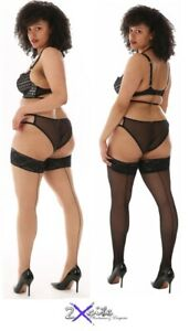 SHEER LACE TOP SEAMED HOLD UP UPS STOCKINGS PAMELA MANN CURVY PLUS SIZE TO 5XL