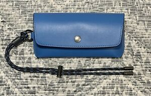 NEW COACH Sunglass Case In Colorblock C5634 Vivid Blue Smooth Leather