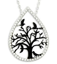 ciondolo albero della vita uccello nero in gocce argento sterling 925 con catena