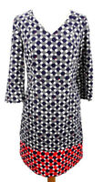 White Stuff 8 10 Grey Red Blue Needle Cord Geometric Dress Tunic 3/4 Sleeve