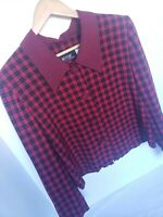 MHM Melissa Harper Red Black Buffalo Plaid 90s Vintage Blouse Holiday Party Crop