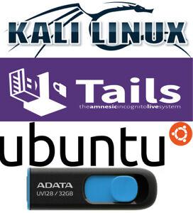Tails 4.14 Kali 2020.4 Ubuntu 20.04.1 Multiboot 32 Gb FAST 3.2 Live USB Linux