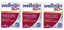 3x Vitabiotics Wellman 50+  Health & Vitality 30 Tablets